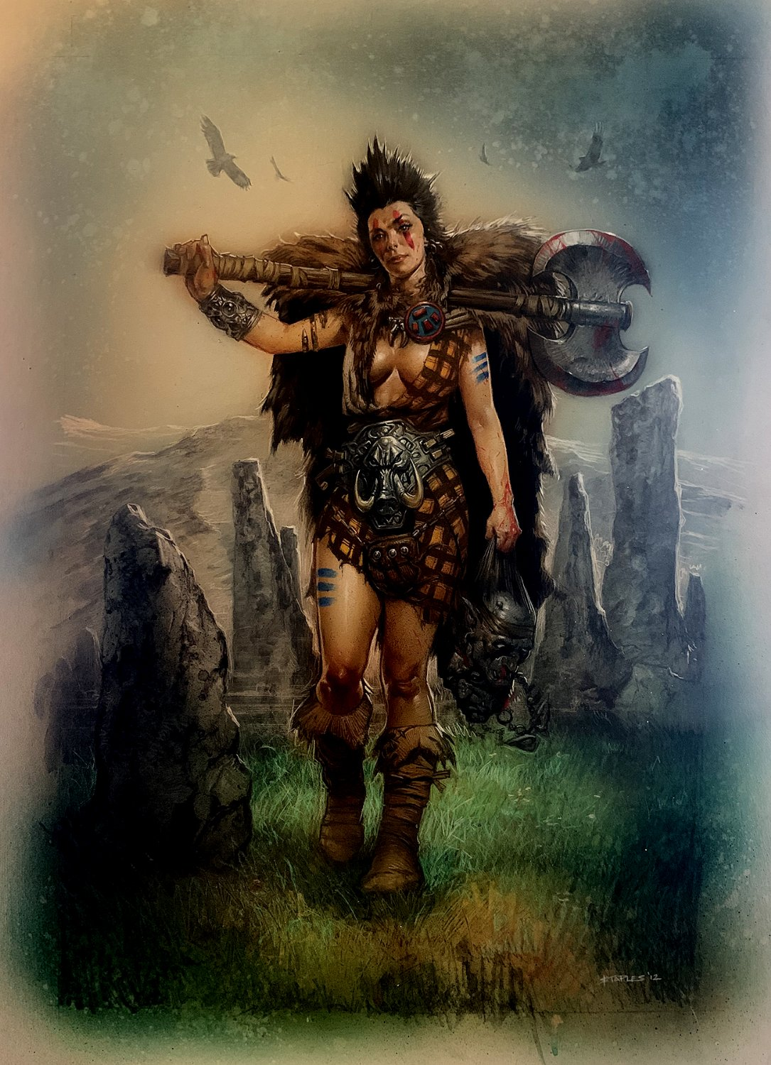 Warrior Woman Holding 2 Heads Very Large Painting (2012)